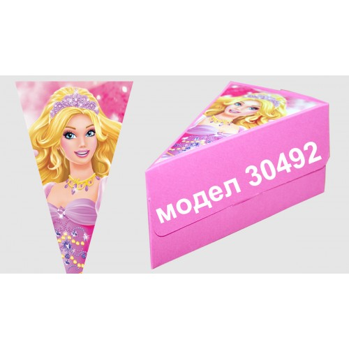 Парченце от Хартиена торта Модел 30492 не сглобена бледо розова кутийка с картинка
