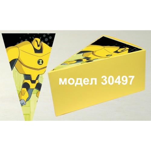 Парченце от Хартиена  торта  Модел 30497 не сглобена жълта кутийка с картинка