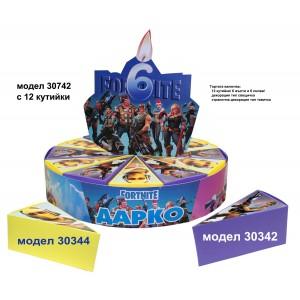 Декорaтивна торта с 12, 24 ,27 или с 39 кутийки с Името и годинките на Вашето дете Модел 30742