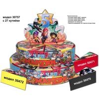 Декорaтивна торта с 12, 24 ,27 или с 39 кутийки с Името и годинките на Вашето дете със странична декорация Модел 30757