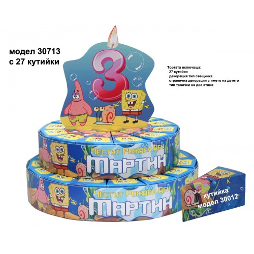 Хартиена торта тематична с декорация Спондж Боб модел 30713