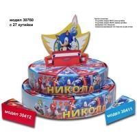 Декорaтивна торта с 12, 24 ,27 или с 39 кутийки с Името и годинките на Вашето дете със странична декорация Модел 30760