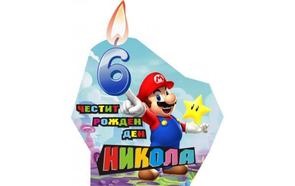 Банер с името и годинките за Хартиена торта Модел 30175 със супер Марио